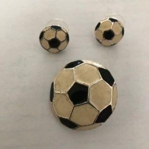 Jewelry - Soccer Ball Pendant Pin Matching Earrings Set VTG